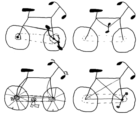 Four badly drawn bikes